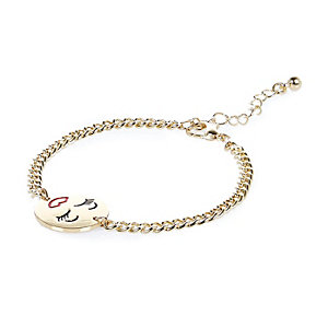 Gold tone smiley face chain bracelet