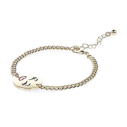 Gold tone smiley face chain bracelet