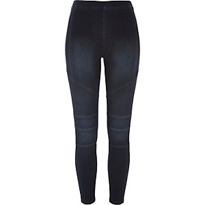 Indigo denim biker legging