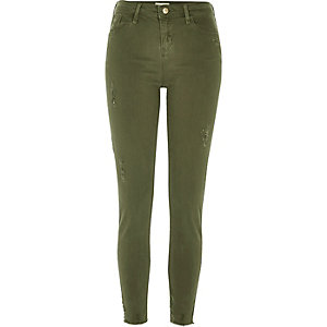 Amelie – Dunkle Super Skinny Jeans in Khaki