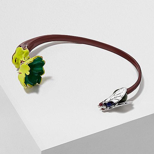 Bracelet jonc Design Forum rouge foncé motif mange mouche