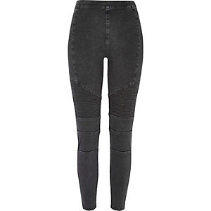 Black denim biker legging