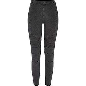 Schwarze Jeans-Biker-Leggings