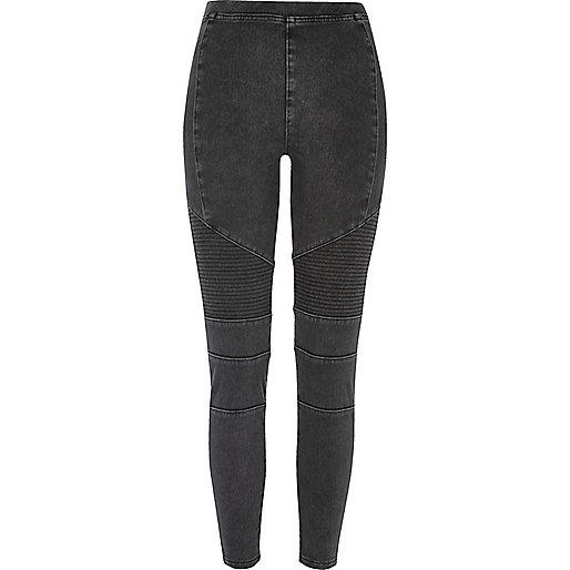 Legging motard en jean noir