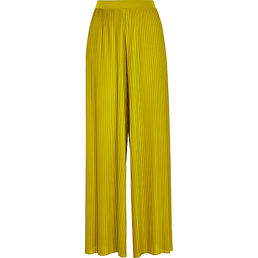 Dark yellow pleated wide leg trousers