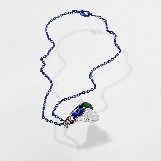 Collier court à maillons Design Forum motif mouche bleu