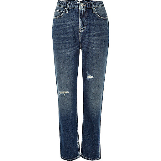 Mid blue wash high rise Mom jeans