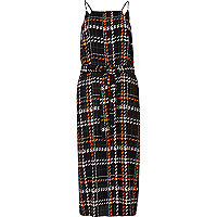 Pink checked cami slip dress