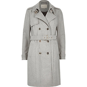 Grey soft textured trench coat