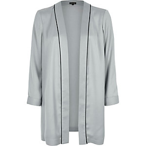 Grey relaxed fit duster jacket