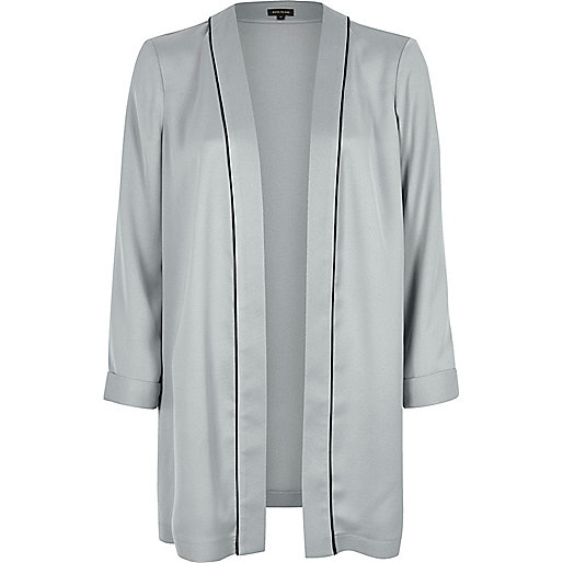 Grey silky open jacket