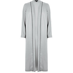 Grey longline pajama duster jacket