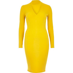 Yellow ribbed choker bodycon dress