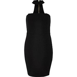 Mini robe bandeau noire avec ras du cou