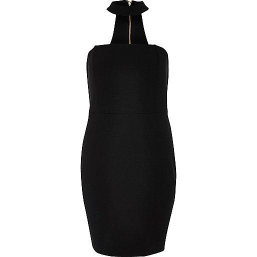 Black choker bandeau mini dress