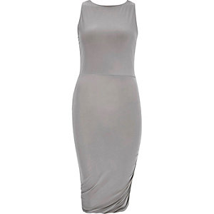Grey ruched slinky dress