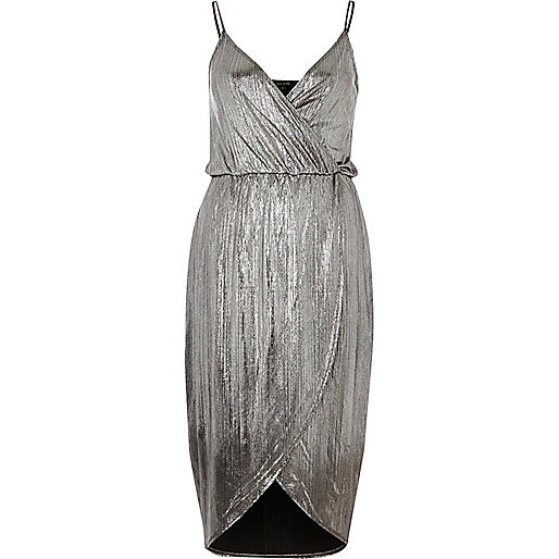 Silver metallic wrap slip dress