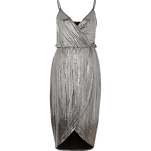 Silver metallic wrap slip dress