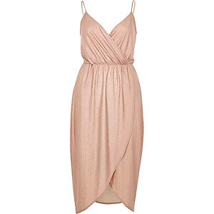 Pink metallic wrap slip dress