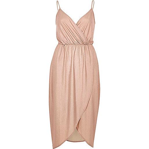 Pink metallic wrap slip dress