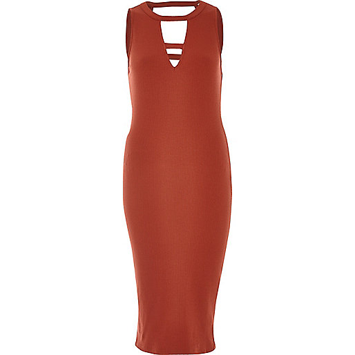 Rust ribbed cut-out midi dress
