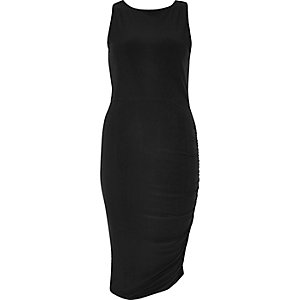 Black ruched slinky dress