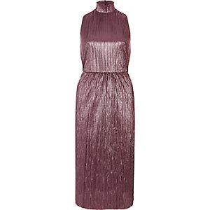 Robe plissée mi-longue rose à col roulé