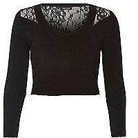 Black knit lace back crop top