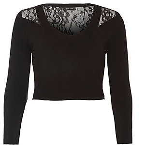 Black knit lace back crop top