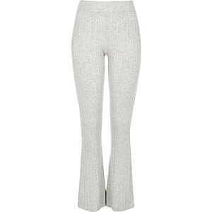Grey cable knit flared trousers