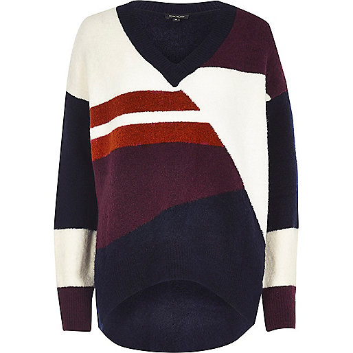 Navy colour block oversized knit jumper