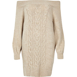 Beige cable knit bardot jumper dress