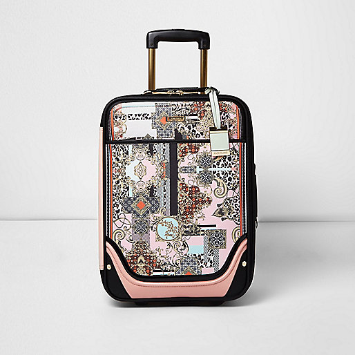 Pink scarf print suitcase