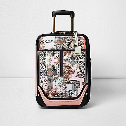 Pink scarf print suitcase