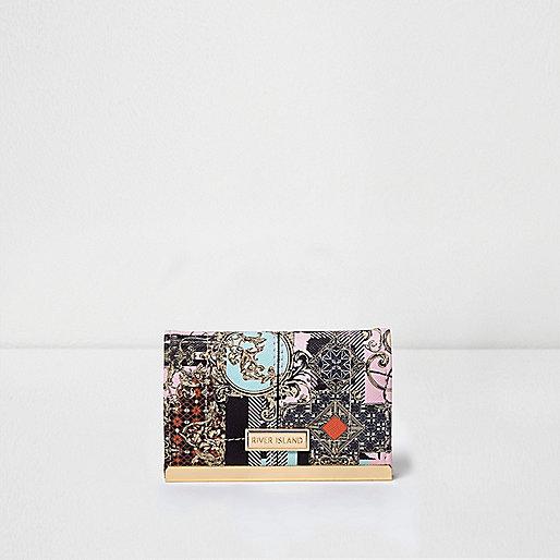 Porte-cartes imprimé foulard rose