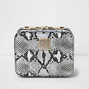 Black snake print jewelry case