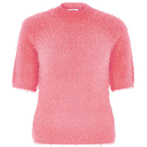 Pink fluffy turtleneck T-shirt