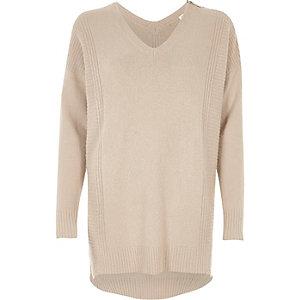 Pullover in Nude mit Reißverschluss