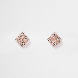 Rose gold tone diamond stud earrings