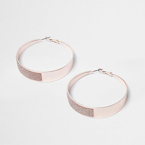 Rose gold tone glitter hoop earrings