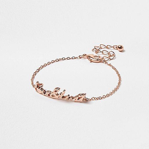 Bracelet chaîne en or rose avec pendentif «love & lust»