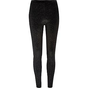 Legging en velours noir pailleté