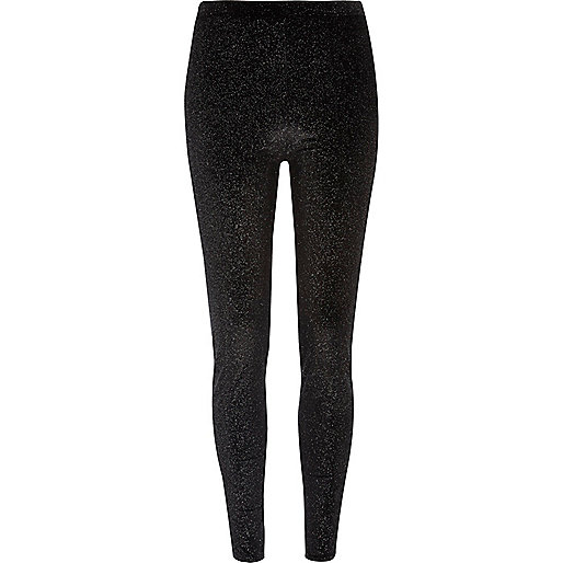 Black glitter velvet leggings