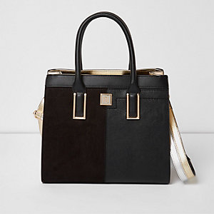 Black metallic panel boxy tote bag