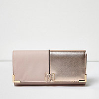 Pink panel foldover clutch bag