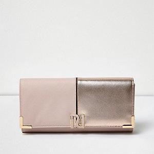 Pink panel foldover purse
