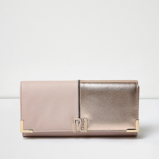 Pink panel foldover clutch bag