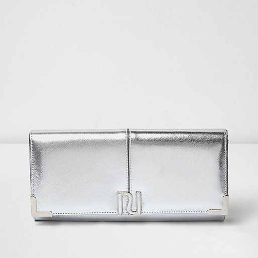 Silver panel foldover clutch bag