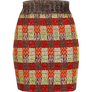 Orange metallic woven skirt
