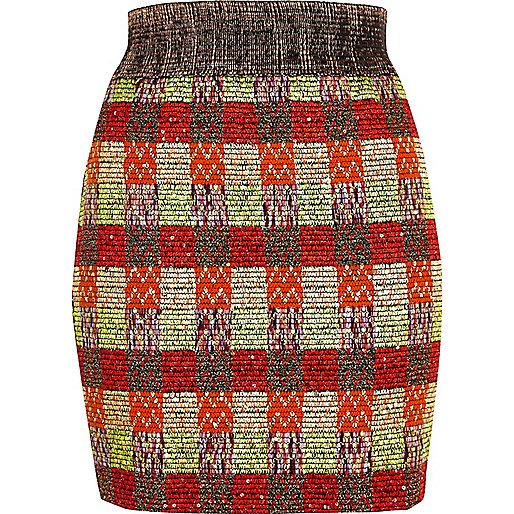 Orange metallic woven skirt